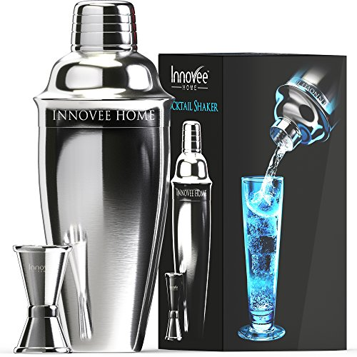 Innovee Cocktail Shaker - Premium Bar Set w/ Free Jigger & Recipes(e-book) 24oz w/ Built-in Strainer
