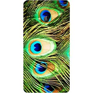 Casotec Peacock Feather Design Hard Back Case Cover for Microsoft Lumia 540