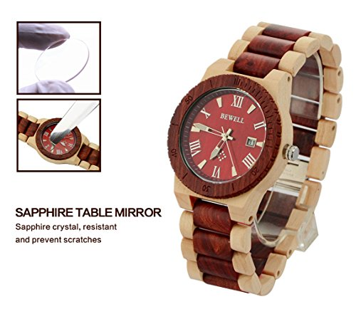 Ideashop Men's White and Red Wood Watches Quartz Retro Antique Wood Wristwatch with Date Function Unique Gift 3