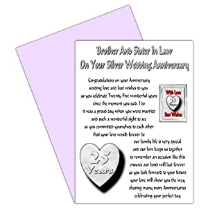 Brother & Sister In Law 25th Wedding Anniversary Card With Removable ...