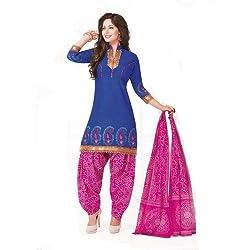 Gugaliya Women's ROYAL CLASS Premium CELEBERATION Series 100 % Cotton UNSTICHED Blue Color Salwar, Kameez & Dupatta Suit (Baalar 306)