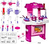 FunkyBuys® 29 Pc Kitchen Cooking Children's Play Set Toy w/ Light & Sound Kids Girls Pink