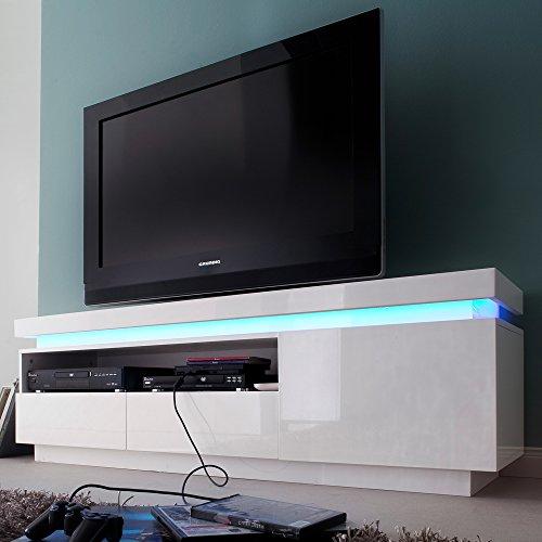 TV Lowboard OCEAN Tisch MDF Hochglanz Lack Weiss Unterschrank LED Beleuchtung