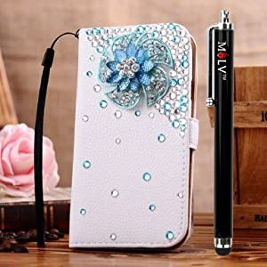 M LV Samsung I9200 Galaxy Mega 6.3 Leather Diamond Bling crystal Folio Support Smart Case Cover With Card Holder & Magnetic Flip Horizontals - Blue 5 Corner Flower by M LV