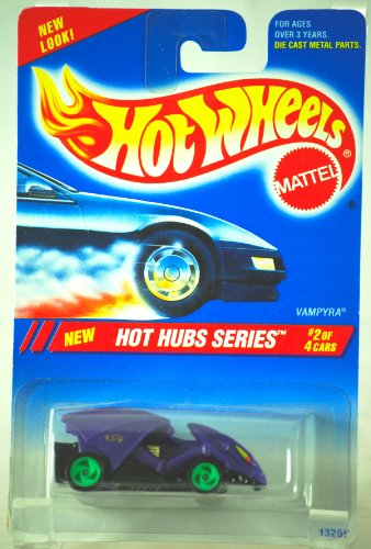 1994 - Mattel - Hot Wheels - Hot Hubs Series - Vampyra - Purple - #2 of 4 Cars - 1:64 Scale Die Cast - MOC - Collector #308 - Out of Production - Limited Edition - Collectible