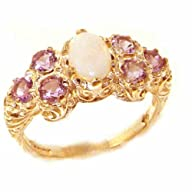 Solid English Yellow 9K Gold Womens Large Opal & Amethyst Art Nouveau Ring – Finger Sizes 5 to 12…