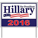 "Hillary Clinton Yard Sign Large OVERSIZED With Stand - DOUBLE-SIDED 2016 - WATERPROOF 24""x18"" Clinton Kaine Signs - Anti Trump LGBT Support - Add To Bumper Sticker, T Shirt Collection"