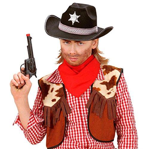 Cappello da cowboy bambini copricapo nero da buttero cappello da sceriffo berretto western vigilante