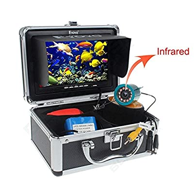 """Eyoyo Original 50M 1000TVL HD CAM Professional Fish Finder Underwater Fishing Video Recorder DVR 7"""" Color Monitor Infrared IR LED lights With 4GB SD card by Eyoyo"""