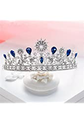 Sunshinesmile Vintage Wedding Bridal Silver Crystal Queen Tiara Hair Accessories Crown Jewelry
