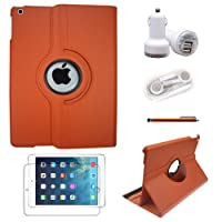 Tyso® USA 360 Degrees Rotating Stand PU Leather Case 5 in 1, For iPad Air / iPad 5 (5th Generation) Tablet + Pen + Protector + Car Charger + Headphone ,Automatic Sleep/Wake Feature (iPad Air, Orange 5 in 1) by TYSO USA