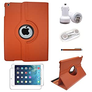 TYSO UK(TM) 360 Degrees Rotating Stand PU Leather Case for iPad Air / iPad 5 (5th Generation) Tablet + Pen + Protector + Charger + Headphone 5 in 1 ,Automatic Sleep/Wake Feature (iPad Air, Orange 5 in 1)