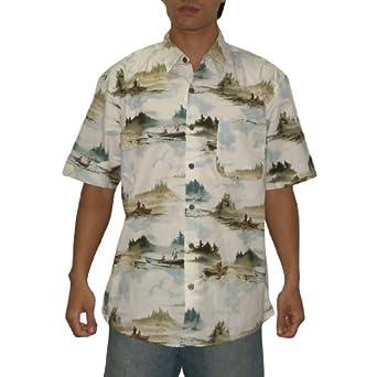 Summa mens short sleeve cotton hawaiian camp shirt large for Mens short sleeve camp shirts