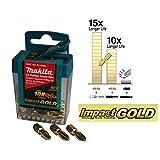 Makita B-39540 Pack 10 x TicTac PZ2 Impact Gold Driver Drill Bits 50mm