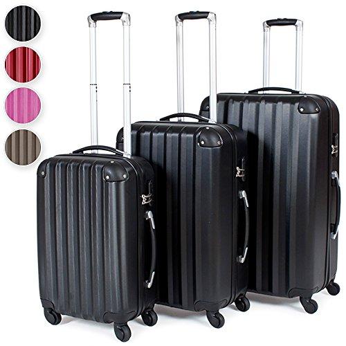 TecTake Trolley valigia valigie set rigido borsa 3 pz. - disponibile in diversi colori - (Nero)