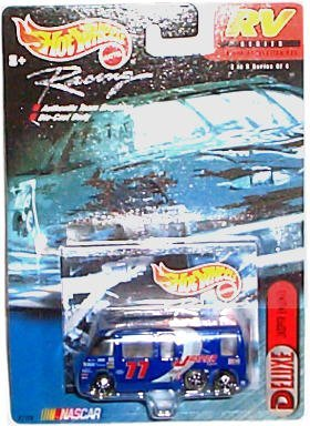 Hot Wheels Racing - NASCAR - RV Series - Deluxe: Jasper Engines #77 - GMC Motor Home (Blue) - 1