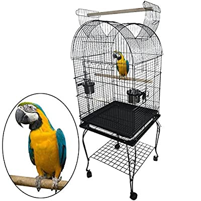 Ridgeyard Large Bird Cage Parrot Canary Budgie Open Top Stand Cage with Wheel 52x52x150cm