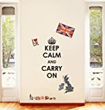 Decowall, DW-1309, Keep Calm and Carry On with Union Jack Wall Stickers/Wall decals/Wall tattoos/Wall transfers
