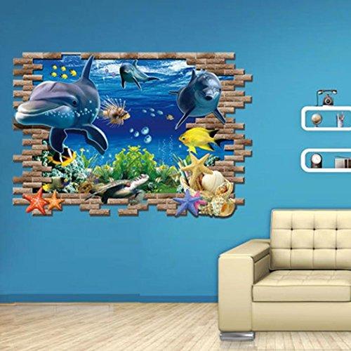 3d adesivo da parete, ddlbiz® adesivi murales, delfino sea wall ...