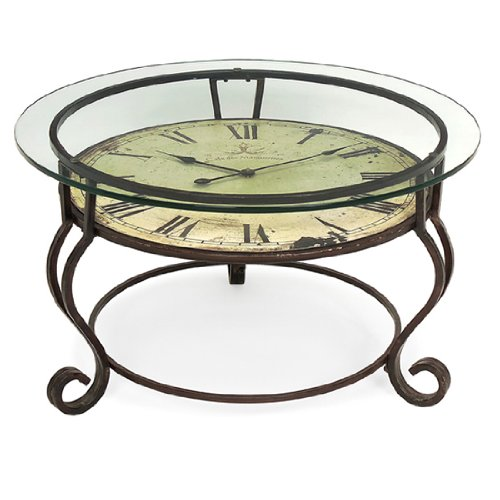 17u2033 Scrolling Wrought Iron Glass Top Coffee Table With Vintage Style Clock  (B00394WVVU)