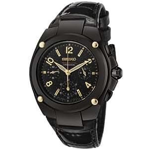 Seiko Women's SRW893 Black Leather Quartz Watch with Black Dial