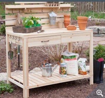 Captivating Gardening Potting Table Made Of Cedar Wood