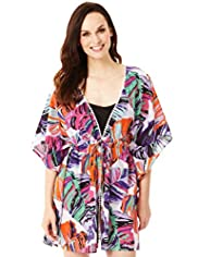 Pure Cotton Abstract Palm Print Cover-Up Kaftan