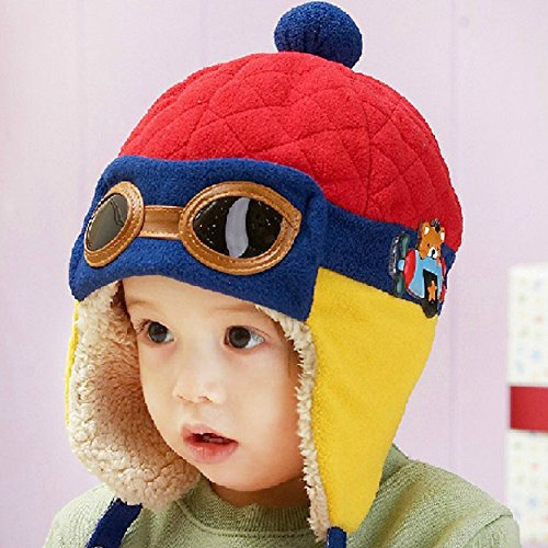 【Eanas】 キュートでぽかぽか ベビー 防寒 ニット帽子 可愛い パイロット 耳まですっぽり (レッド, フリー)