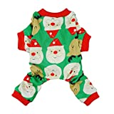 Fitwarm Cute Santa Reindeer Pet Clothes Christmas Dog Pajamas Shirts, Green, Medium