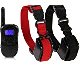 FACILLA® High Safety 330 Yards Wireless Digital 4 Modes Electronic Trainer kit ( Two Collars ) , Inludes Two Rechargeable Waterproof Collars with 100 Levels of Vibration and Shock + Rechargeable Remote Control with Blue Backlight LCD Screen