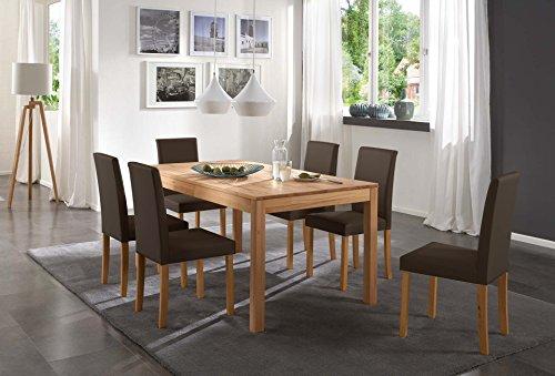 SAM-Tischgruppe-Siggi-7tlg-Tisch-in-Kernbuche-massiv-180-cm-mit-6-x-Stuhl-Billi-in-braun-buche-gelt-massive-Optik-natrliche-Maserung-modernes-Design-kombinierbar-Handarbeit-Lieferung-per-Spedition