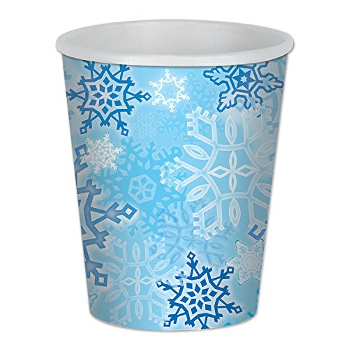 Beistle Snowflake Beverage Cups, 9-Ounce, Blue/White