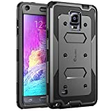Galaxy Note 4 Case, i-Blason Armorbox Dual Layer Hybrid Full-body Protective Case For Samsung Galaxy Note 4 [SM-N910S / SM-N910C] with Front Cover and Built-in Screen Protector / Impact Resistant Bumpers (Black)