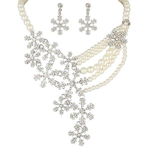 EVER FAITH Silver-Tone Bridal Snowflake Simulated Pearl Clear Austrian Crystal N…
