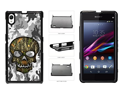 Human Skull With Camo Pattern Background Plastic Phone Case Back Cover For Sony Xperia Z1 comes with Security Tag and myPhone Designs(TM) Cleaning Cloth