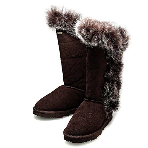 KOS Signature-Grace Tall, Cioccolato,Pelle di Pecora/Foxy Pelliccia Inverno Stivali da Neve Donna 38