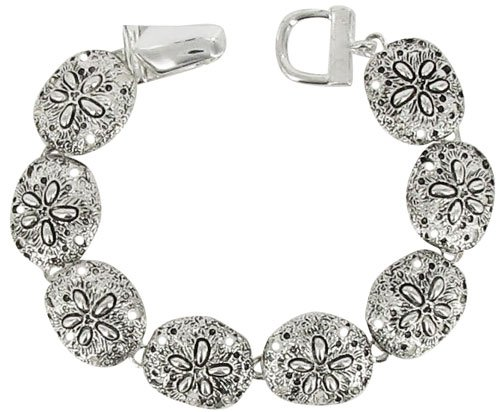 Textured Silvertone Sand Dollar Magnetic Link Bracelet Fashion Jewelry