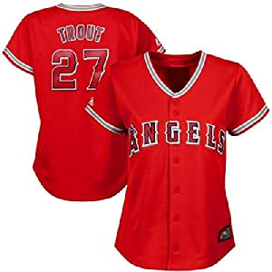 Mike Trout #27 Los Angeles Angels of Anaheim MLB Ladies Jersey - Red by Majestic