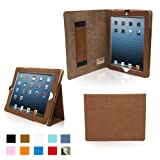 Snugg iPad 4 & iPad 3 Case - PU Leather Case Cover and Flip Stand with Elastic Hand Strap and Premium Nubuck Fibre Interior (Distressed Brown) - Automatically Wakes and Puts the iPad 4 & 3 to Sleep. Superior Quality Design as Featured in GQ Magazine