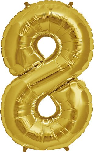 Number 8 - Gold Helium Foil Balloon - 34 inch