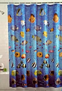 Tropical fish shower curtain home kitchen for Tropical fish shower curtain
