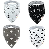 Alva Stylish Baby Bandana Bibs for Boys and Girls 4 Pack of Super Absorbent Baby Gift Sets SK06