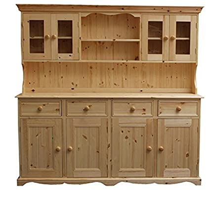 Wye Pine 6ft Traditional Glazed Dresser - Finish: Lacquer Antique