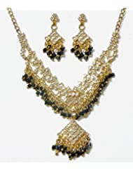 DollsofIndia White Stone Studded Necklace Set With Black Beads - Stone And Metal - White