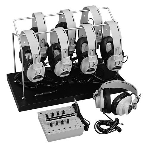 Califone 1216Avp-03 6-Position Monaural Listening Center With Volume Controls & Wire Rack