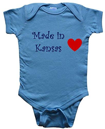 Made In Kansas - Kansas Baby - State-Series - Blue Baby One Piece Bodysuit - Size Medium (12-18M)