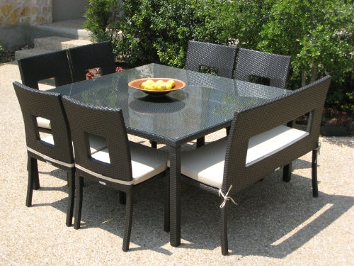 8 pc Outdoor Wicker Dining Table Set