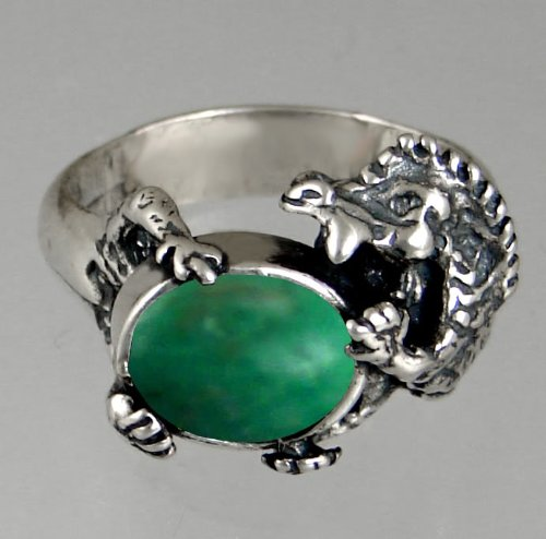 Sterling Silver Dragon Ring Featuring a Genuine Green Turquoise Made in America