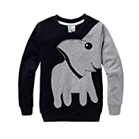 CM-Kid Little Boys' Elephant Cartoon Head Long Sleeve T-shirt 3-7T
