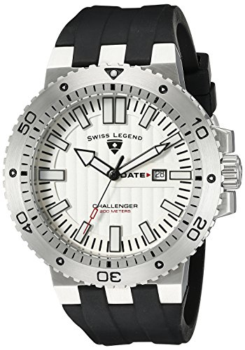 SWISS LEGEND Challenger 10126-02S 50 Stainless Steel Case Rubber Anti-Reflective Sapphire Men's Quartz Watch